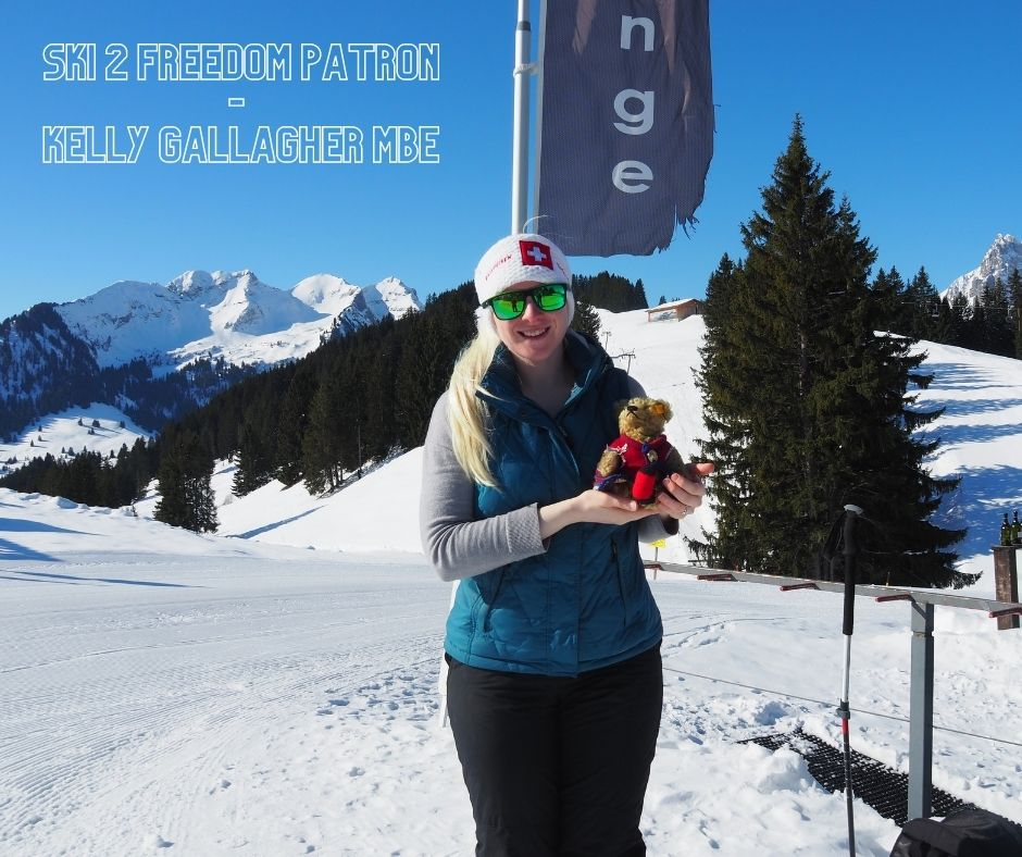 Picture of Kelly in Gstaad where she delivered a session to the local children on skiing with a visual impairment