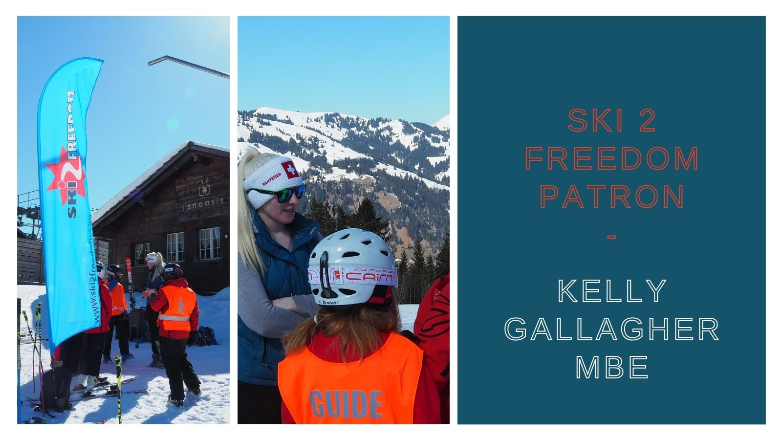 Pictures of Kelly in Gstaad with the children where she delivered a session on skiing with a visual impairment