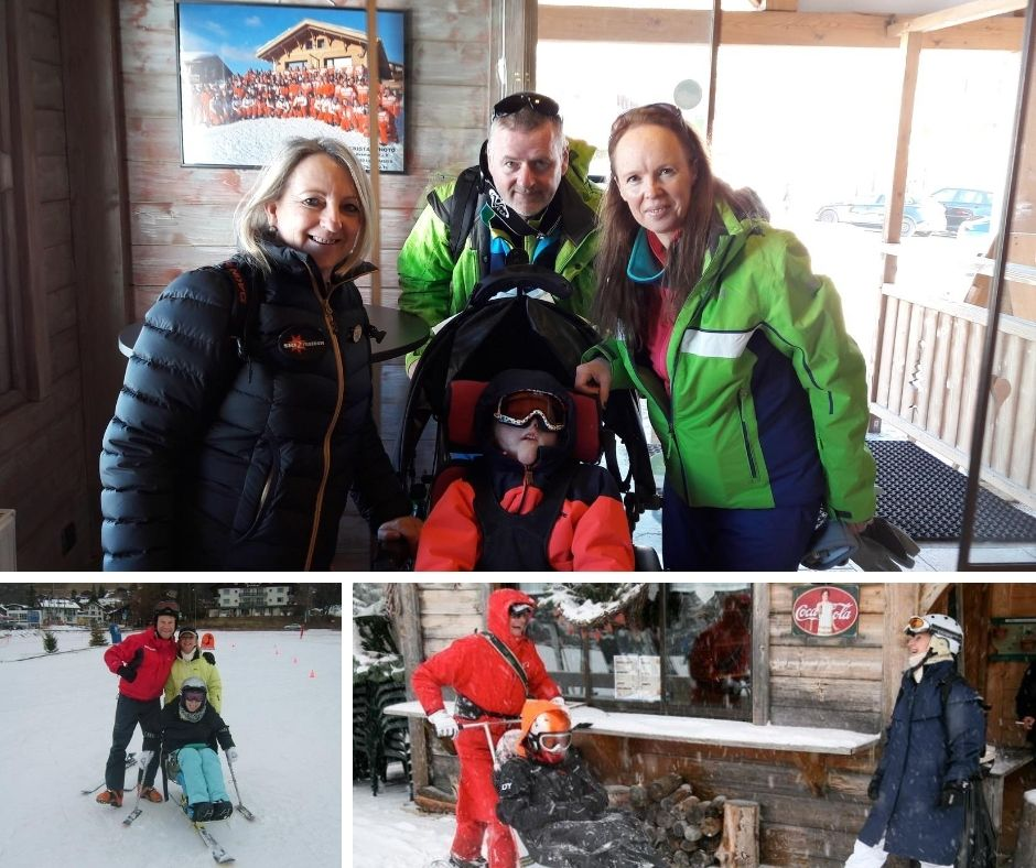 Top: Catherine with a beneficiary & family getting ready for a snow cart experience | Bottom left: Catherine with one of Ski 2 Freedom's first beneficiary's back in 2006 | Bottom right: Catherine catching up with local ESF handiski instructor