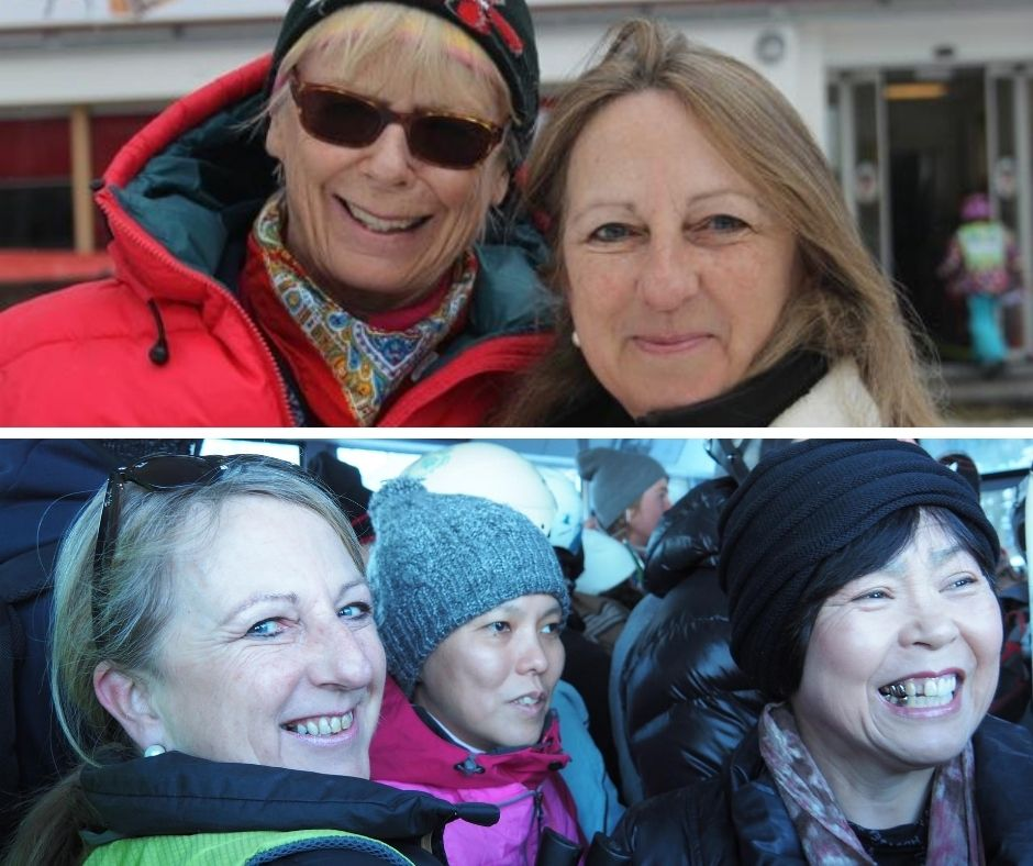 Top: Catherine with a local guide | Bottom: Catherine taking a visually impaired beneficiairy & friend up the gondola