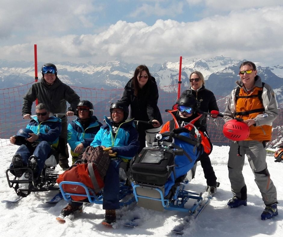 Catherine with beneficiaries enjoying what the mountains have to offer