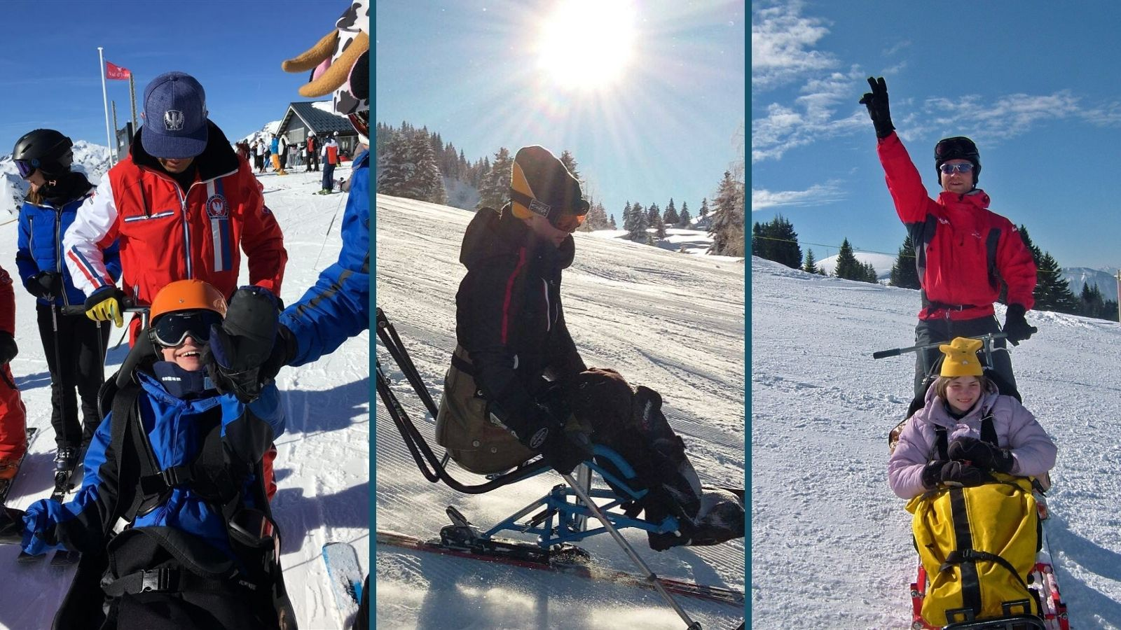 three images of Ski 2 Freedom beneficiaries enjoying their sit ski experiences with big smiles on their faces