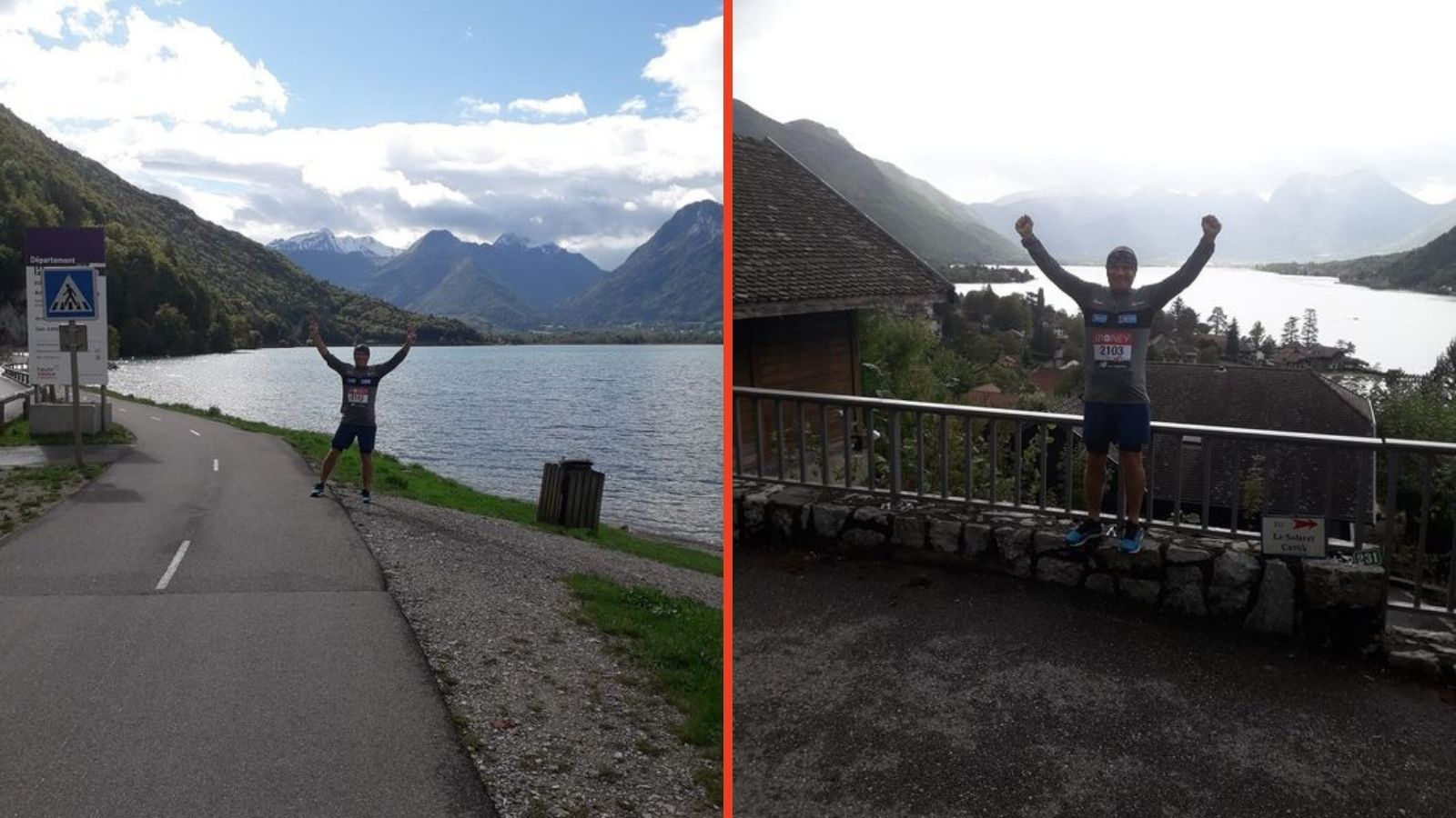 pictures of Mark during his run with long reaching views of Lake Annecy in the background