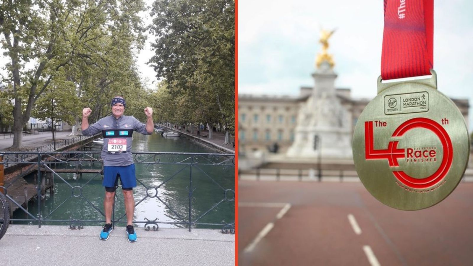 picture of Mark smiling at the end of his marathon & picture of the London Marathon medal