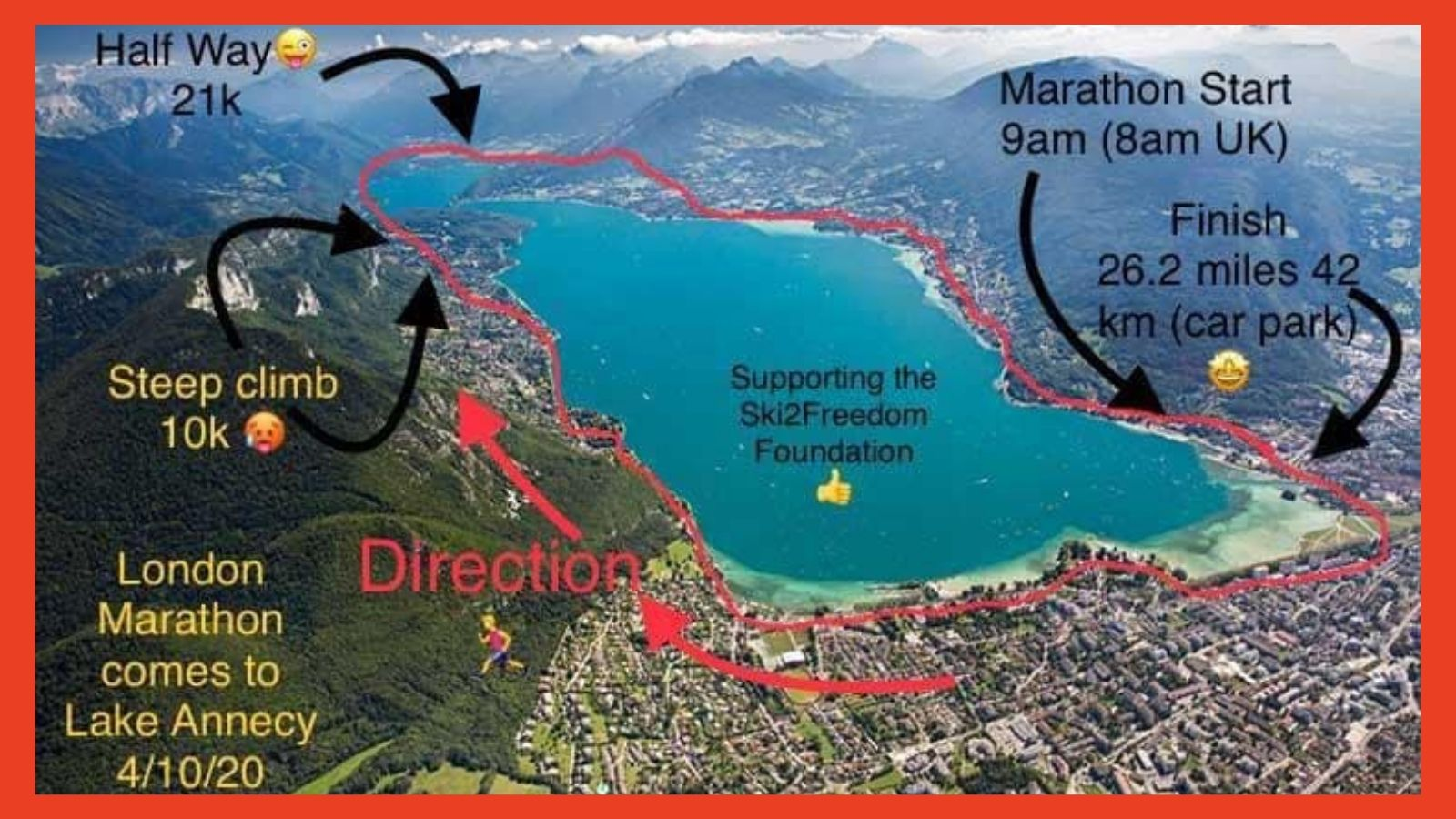 map showing Mark's running route around Lake Annecy - marking out the start, finish & climb section