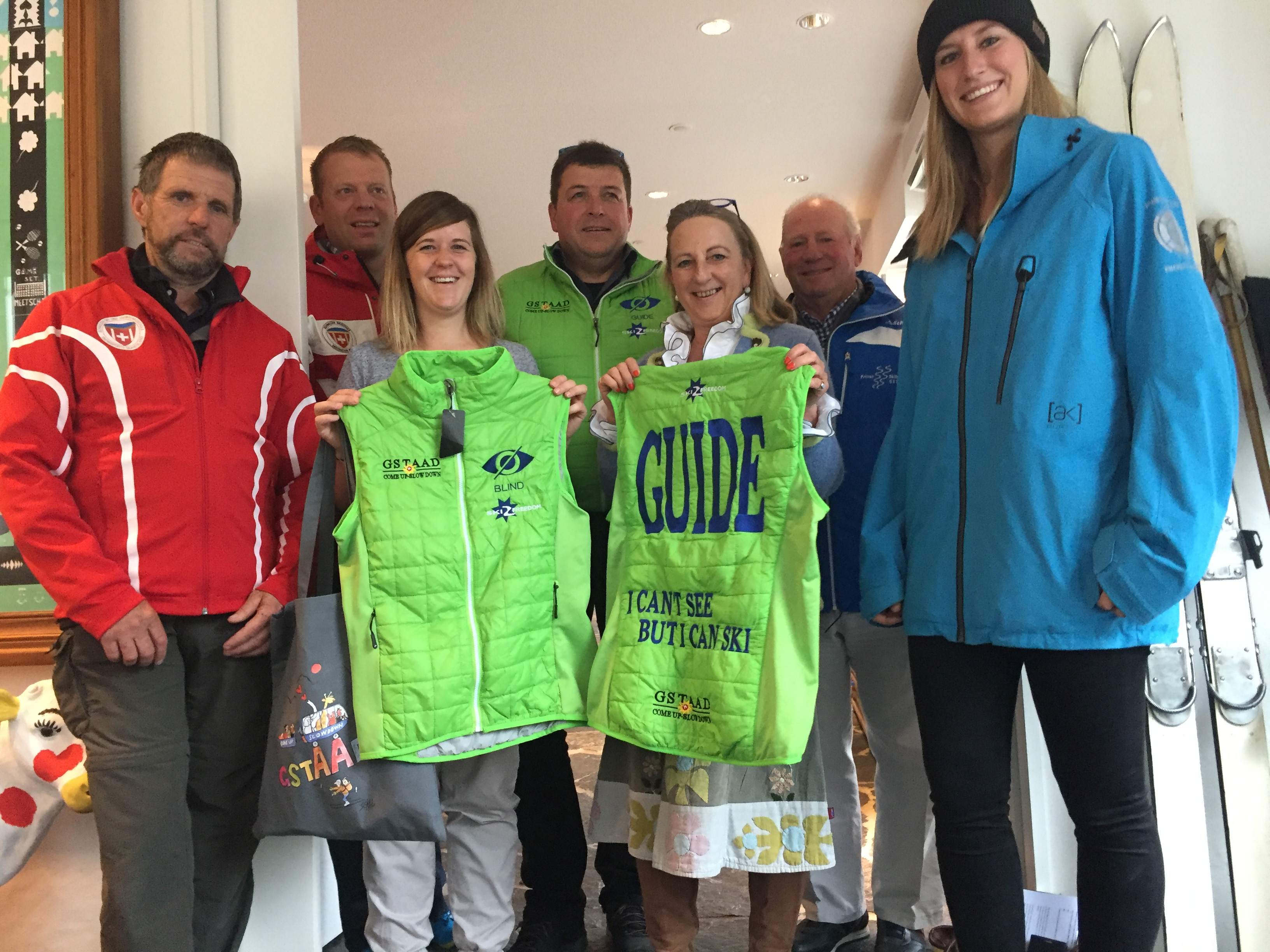 The blind skiers with Catherine Cosby of Ski 2 Freedom Foundation