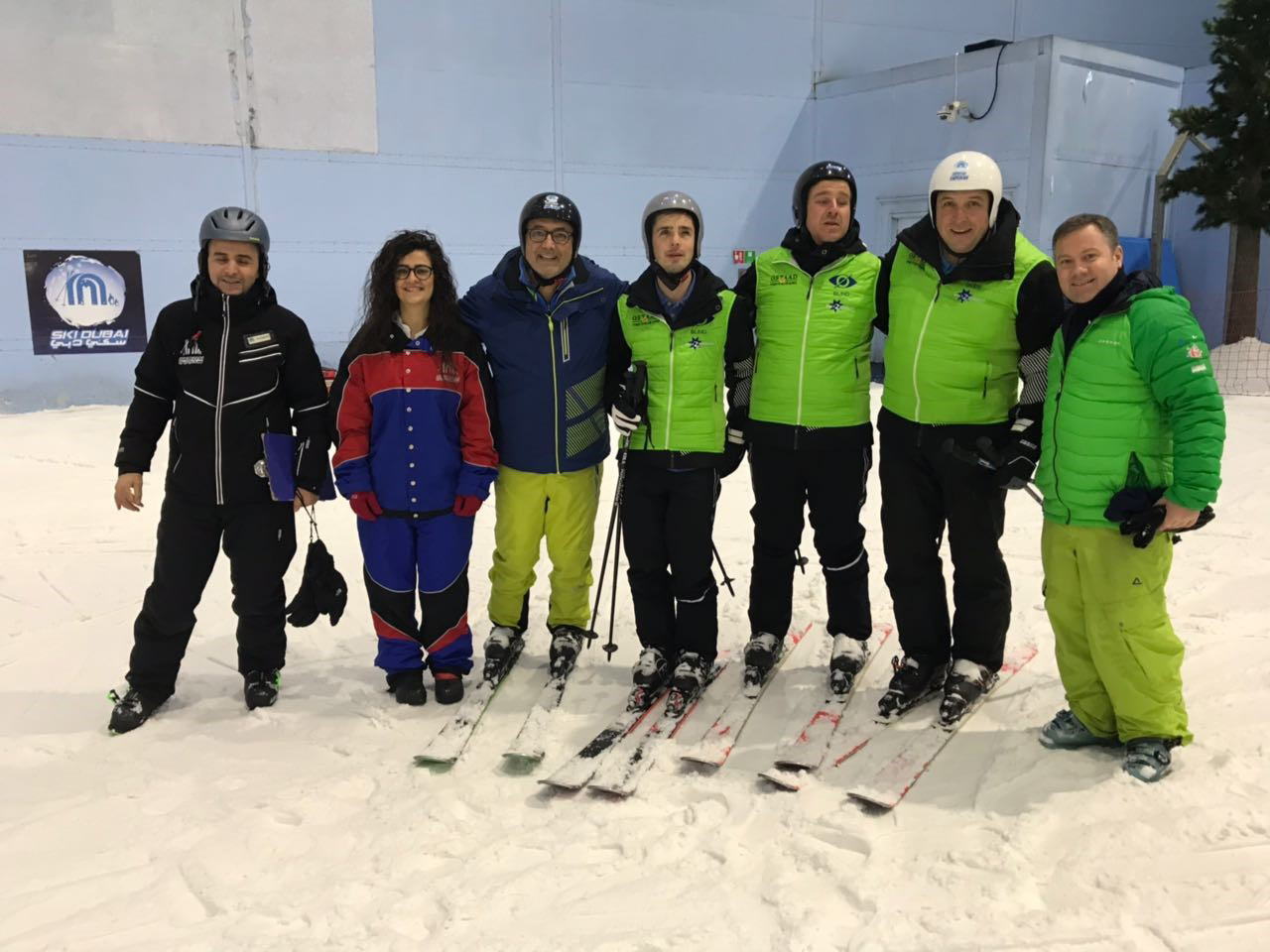 The team of blind skiers and their guides at Ski Dubai