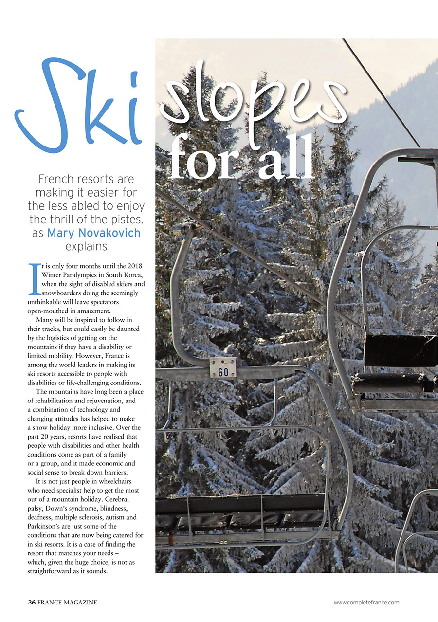 Page 1 of France magazine article about accessible skiing in France