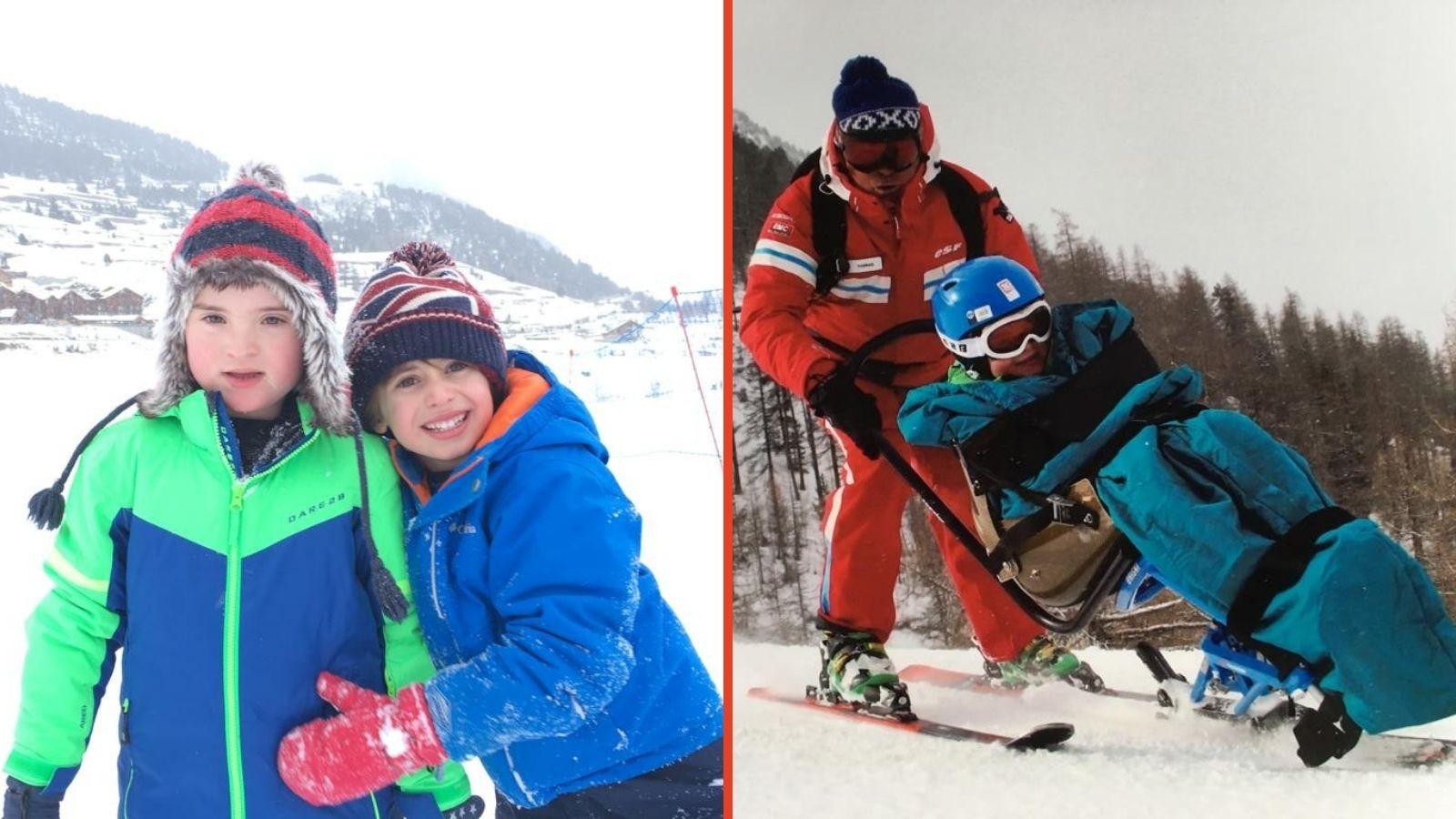 left - Ollie and brother Joe playing in the snow. right - Ollie being guided round the mountain by instructor Thomas