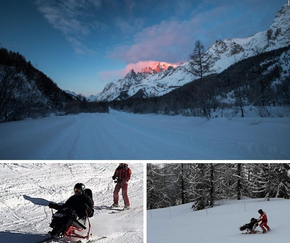 top image - mountain scene with sun setting, bottom left image - a beneficiary learning to ski a snow kart independently with instructor attached behind on rope, bottom right image - a beneficiary enjoying a guided sit ski experience