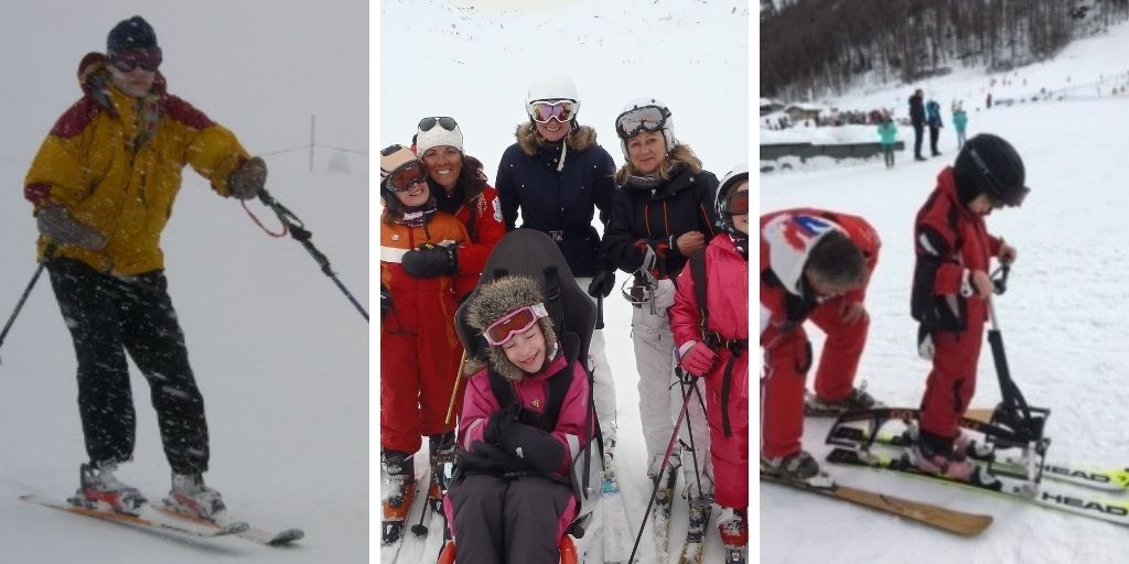 left image - amputee skiing, middle image - family enjoying skiing together including daughter in sit-ski, right image - young boy with cerebral palsy learning to ski